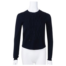Dior-Chandail à détails matelassés-Bleu,Bleu Marine