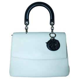 Dior-White Small Be Dior Top Handle Flap Bag-White