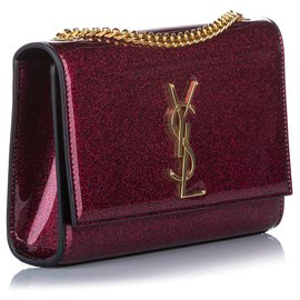 Yves Saint Laurent-YSL Red Small Kate Patent Leather Crossbody Bag-Red,Dark red