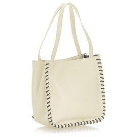 Yves Saint Laurent-YSL White Leather Shoulder Bag-White