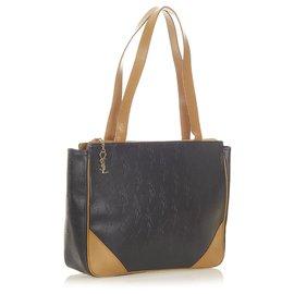 Yves Saint Laurent-YSL Black Embossed Leather Tote Bag-Brown,Black