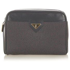 Yves Saint Laurent-YSL Gray Canvas Clutch Bag-Black,Grey