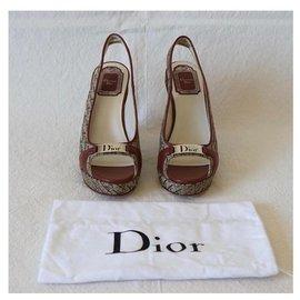 Christian Dior-Dior wedge sandals-Brown,Beige