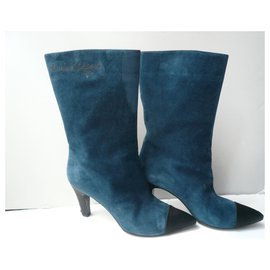 """Chanel-CHANEL """"Gabrielle Coco"""" midnight blue boots.40,5 It-Blue"""