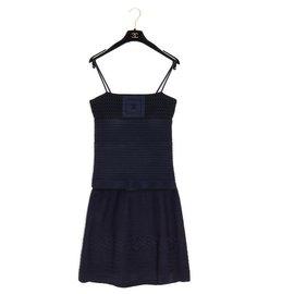 Chanel-BLACK NAVY TOP SKIRT FR38/40-Black,Navy blue