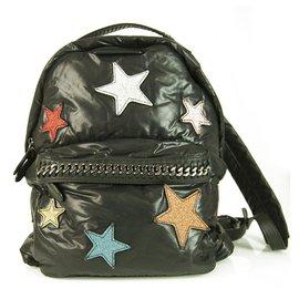 Stella Mc Cartney-Stella McCartney All Over Multicolor Go Glitter Stars Falabella Black Backpack-Black