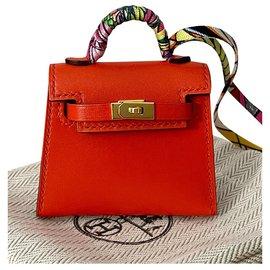 Hermès-Kelly micro Twilly charm-Orange