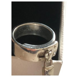 Hermès-Padlock ring-Silvery