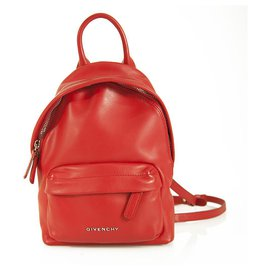 Givenchy-Givenchy Red Smooth calf leather Leather Logo Plaque Nano Backpack in mint condition-Red