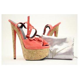 Giuseppe Zanotti-Salmon Suede Bow Tie Cork Peep Toe Stiletto Pump Heels-Other