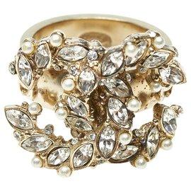 Chanel-Chanel Silver CC Rhinestone Ring-Silvery