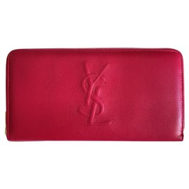 Yves Saint Laurent-Fuchsia goat leather pouch-Fuschia
