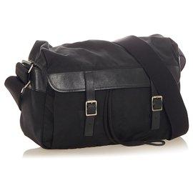 Yves Saint Laurent-YSL Black Nylon Crossbody Bag-Black