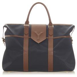 Yves Saint Laurent-YSL Black Leather Travel Bag-Brown,Black