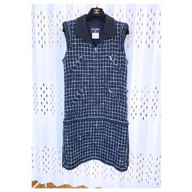 Chanel-8,7K$ Lesage Tweed Dress-Navy blue