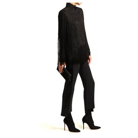 Givenchy-AW18 Black Fringed Silk Top-Black