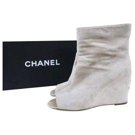 Chanel-Chanel CC Logo Beige Suede Wedge Open Toe Booties Size 38-Beige