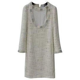 Chanel-Chanel Paris Bombay Tweed Dress  Sz 34-Beige