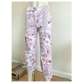 Dior-Pantalon baggy monogramme Dior - collection cherry blossom.-Rose,Blanc