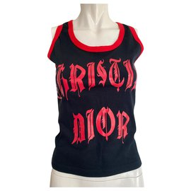 Dior-Dior gothic top / tank top Galliano black and red tank top-Black,Red