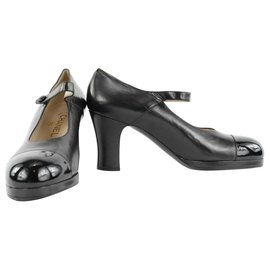 Chanel-Ultra rare 95P A05077 Cap Toe Chunky Heels with Strap Size 40 -Other