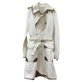 Burberry-Vintage Burberry white overcoat-Brown,White