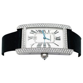 """Cartier-Cartier watch, """"American tank"""", in white gold and diamonds.-Other"""
