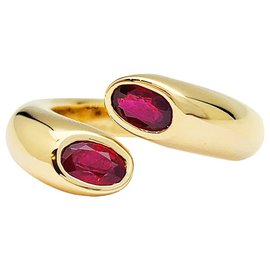 """Cartier-Cartier ring, """"Ellipse Two Crossed Heads"""", yellow gold, ruby.-Other"""