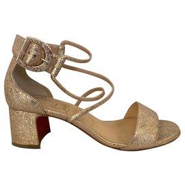 Christian Louboutin-Rose gold laminate sandals-Metallic