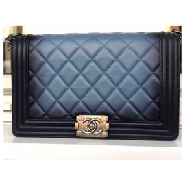 Chanel-Chanel calf leather Ombre Faded Quilted New Medium Boy Flap Blue Bag-Black,Blue