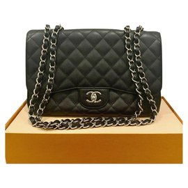 Chanel-Chanel Black Quilted Caviar Leather Classic Jumbo Single Flap Bag-Black
