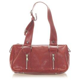 Yves Saint Laurent-YSL Red Leather Shoulder Bag-Red