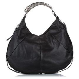 Yves Saint Laurent-YSL Black Mombasa Leather Hobo Bag-Black