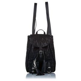 Yves Saint Laurent-YSL Black Mini Festival Leather Backpack-Black