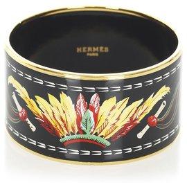 Hermès-Hermes Black Enamel Bangle-Black,Multiple colors
