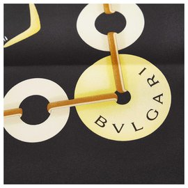 Bulgari-Foulard en soie imprimé noir Bvlgari-Noir,Multicolore
