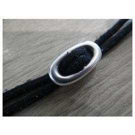 Hermès-Hermès skipper bracelet in sterling silver , new black cotton tie with box-Silvery