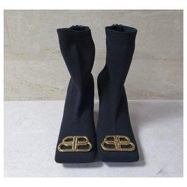 Balenciaga-Balenciaga BB Logo Plaque Sock Style Ankle Boots Sz.38-Black