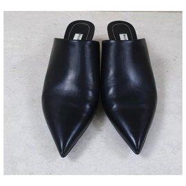 Balenciaga-Balenciaga Black Leather Red Cord Wrapped Heels Mules Sz.37-Black