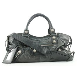 Balenciaga-Black Leather Giant City 2way Bag with Strap-Other
