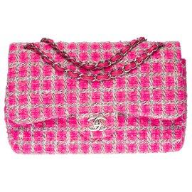 Chanel-Exceptional Chanel Timeless Jumbo lined flap handbag in pink Tweed, Garniture en métal argenté-Pink