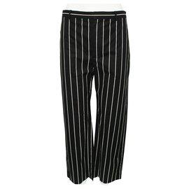 Balenciaga-Black and White Striped Cotton Pants-Black