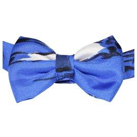 Hermès-Dark Blue Silk Bow Tie-Blue