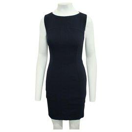 Yves Saint Laurent-Navy Blue Fitted Dress-Blue,Navy blue