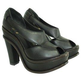 Yves Saint Laurent-Black and Brown Leather Block Heels-Black