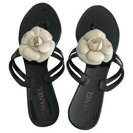 Chanel-Sandals-Black,Cream