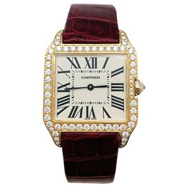 """Cartier-Cartier """"Santos Dumont"""" watch in gold and diamonds on leather.-Other"""