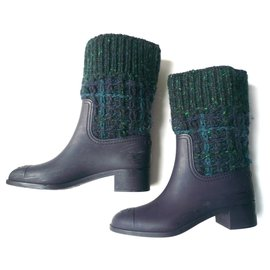 Chanel-CHANEL Navy rubber and tweed rain boots T36 It-Navy blue
