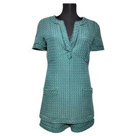 Chanel-Green Dress+Shorts-Green