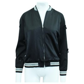 3.1 Phillip Lim-Black Satin Jacket with Laser Cut Embroidery-Black
